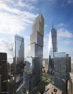 In an interview with Wired that dives deep into the genesis of Two World Trade Center, Bjarke Ingels, the founder of the architecture firm BIG, has unveiled his design for the building. Bjarke Ingels Architecture, Dezeen Architecture, Futuristic Architecture, Amazing Architecture, Architecture Design, World Trade Center Pictures, World Trade Center Site, Trade Centre, Modern Buildings