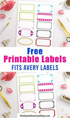 Free Printable Labels- It's fun and easy to organize your home if you have these free printable labels! Plus, they fit Avery labels so they're easy to use! Printable Lables, Printable Planner Stickers, Templates Printable Free, Free Printables, Printable Cards, Avery Label Templates, Organizing Labels, Planner Pages, Planner Ideas