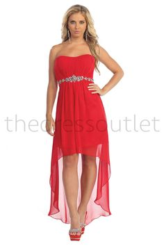 A fun flirty high low dress. With a long floor length back and a mini knee length in the front. It has a strapless top with a ruched bust and a rhinestone foe belt. Fabric : Chiffon Closure : Corset B