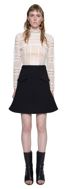 Contrast Lace Panelled Top