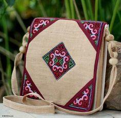 THAI TRIBAL~Natural/Berry Hand Embroidered Hemp Shoulder Bag~NOVICA Thailand