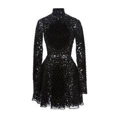 Zuhair Murad Long Sleeve Mock Neck Mini Dress ($8,015) ❤ liked on Polyvore featuring dresses, zuhair murad, dresses/gowns, embroidered dress, longsleeve dress, open back short dresses, embroidery dress and long sleeve open back dress