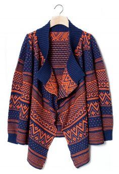 Aztec Zig Zag Intarsia Knit Orange Navy Cape