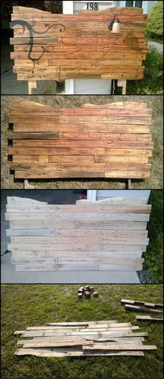 This project proves that one doesn't have to be a professional to create something impressive for the home!  This headboard was made by an amateur DIYer who is just beginning to learn wood work. It's another great creation made from recycled pallets.  Lea