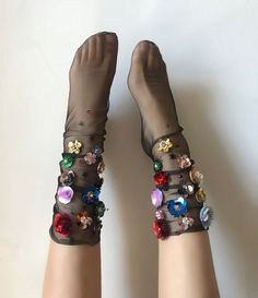 Amber Sequin Tulle Socks Sheer tulle ankle socks featuring statement hand embellished details in colorful floral designs. One Size: US Women's Hand wash in cold water, lay flat to dry. polyamide tulle © 2018 LIRIKA MATOSHI INC. ALL RIGHTS RESERVED Sheer Socks, Lace Socks, Ankle Socks, Fashion Night, Diy Fashion, Womens Fashion, Style Fashion, Custom Socks, Crazy Socks