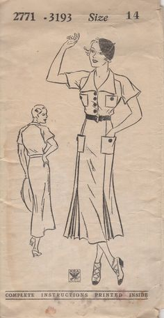 RARE 1930's Misses' Dress Mail Order Pattern 2771 (ca. 1933-35)