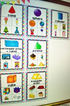 Introduce and reinforce shape posters with these beautiful math posters. These posters will serve as an excellent reference for students throughout the school year. Kindergarten Posters, Kindergarten Anchor Charts, Kindergarten Math Activities, Preschool Writing, Kindergarten Lesson Plans, Preschool Songs, Math Math, Shape Anchor Chart, Life Skills Classroom