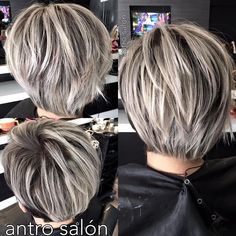 Long Sliced Pixie for Straight Hair Emphasize the depth and volume of short layered hairstyles by adding stripes and splashes of silver-white color over dark brown hair. The sliced locks of this longish pixie-bob create a sturdy and structured s Layered Bob Short, Short Layered Haircuts, Layered Bob Hairstyles, Straight Hairstyles, Pixie Haircuts, Medium Hairstyles, Braided Hairstyles, Pretty Hairstyles, Medieval Hairstyles