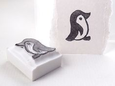 penguin stamp by paperfruithair