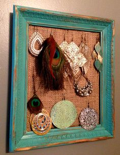 Teal Burlap Jewlery Hanger by Drab2FabNC on Etsy, $10.00