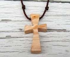 Wooden Cross Necklace  Maple Burl  Men's Jewelry by TheLotusShop, $14.95