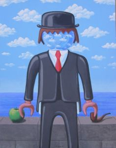 Cuadro Playmobil Magritte.  (Magritte exhibit at Chicago's Art Institute, Summer 2014)
