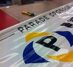 Getting ready for the parade at PB&J Textiles #banner #parade #largebanner #promotionalbanner