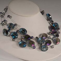 Oval Crystal on Floating Silver Wire Necklace