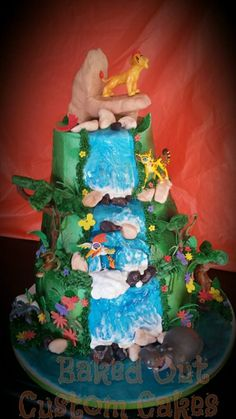 Lion Guard Waterfall Cake by Baked Out Custom Cakes www.facebook.com/bakedoutcakes