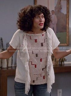 Rainbow's fringed top on Black-ish. Outfit Details: http://wornontv.net/54169/ #Blackish