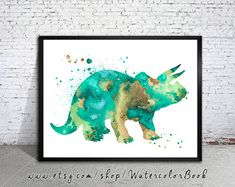 Blue Triceratops , Dinosaur Watercolor Print, watercolor painting, watercolor art,  home decor, watercolor animal, Kids Wall Art