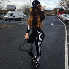 adidas black outfit and adidas shoes Swag Outfits, Mode Outfits, Sport Outfits, Trendy Outfits, Fall Outfits, Summer Outfits, Fashion Killa, Look Fashion, Teen Fashion