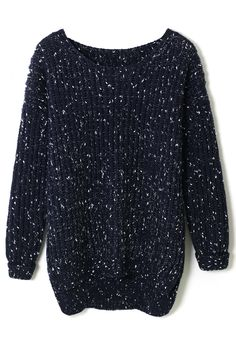 White Dots Chunky Knit Sweater in Navy - Retro, Indie and Unique Fashion