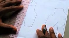 how to take a blouse pattern and add slashes to make a peplum - YouTube