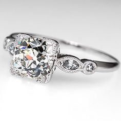 1.5 Carat Diamond Antique Engagement Ring Platinum