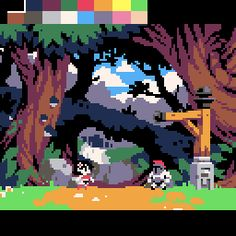 Experimenting the #PICO8 palette with http://www.cursesnchaos.com 's backgrounds... #pixelart
