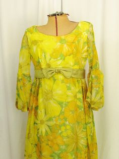 Vintage Gown with Yellow Floral Overlay by FairSails on Etsy