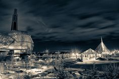 """""""Canadian Museum For Human Rights"""" on a cold night of November."""
