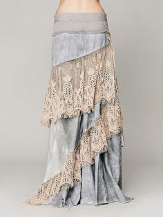 Love the mix of jean material and lace in this skirt. It would probably be too long, and I would trip... but still beautiful! Especially since the fabric all hangs at an angle!