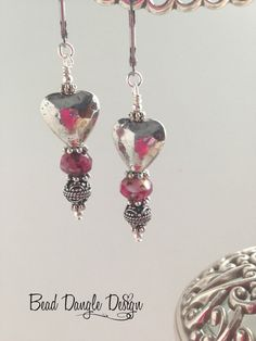 Hearts of Pewter and Cranberry Glass Beaded Earrings
