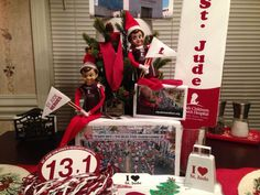Elf on the shelf - Our elves Miss Belle 'n Alfie are ready for the St. Jude Memphis Marathon week-end 2014 to cheer on the St. Jude Heroes!!!   ;o)