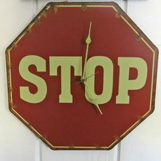 STOP Sign Clock Unique Wall Clocks Vintage Red by OCklockworks