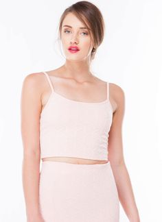 Sure Y Not Strappy Cropped Tank Top BLUSH