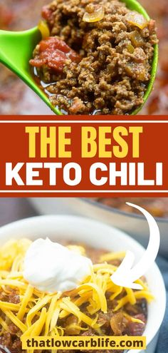Our Keto chili is made with loads of ground beef and all that chili flavor you're craving! We've replaced our traditional chili recipe with this low carb chili and even the carb-lovers devour this one! It's seriously just the best chili ever and sure to be a huge hit with the entire family. Keto Lunch Ideas, Healthy Dinner Recipes, Yummy Recipes, Low Carb Noodles, Beef Soup Recipes, Soup With Ground Beef, Low Carb Chili, Low Carb Diet Plan, Homemade Soup
