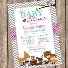 Woodland Forest Baby Shower Invitation, pink, blue, gray, chevron, typography, printable, digital file
