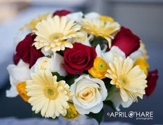 White and Red Roses, Yellow Gerber Daisy's, and Yellow Ranunculus - Perfect if tied with an emerald ribbon!