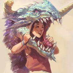 #Sketch #Digital #Dragon #Girl #head #souvernir