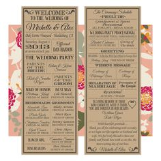 Printable, fully customizable, wedding programs! Looks great rustic on Kraft Paper or high contrast and beautiful on white paper.