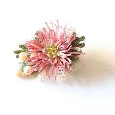 Crochet brooch with dusty pink flower and mother of pearl beads, crochet art…
