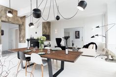 massive dining table and aim pendant light
