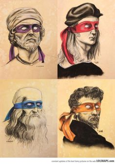 Renaissance artists as Ninja Turtles - Funny cartoon with popular renaissance artists Donatello, Raphael, Leonardo da Vinci and Michelangelo wearing colorful masks like Teenage Mutant Ninja Turtles characters. MADE ME THINK OF KIEFER! Patrick Spongebob, Art Ninja, Pikachu, Pokemon, Renaissance Artists, Renaissance Men, Italian Renaissance, Charlie Chaplin, Geek Out