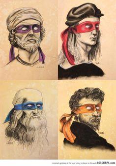 Teenage mutant Renaissance artists! (Donatello, Raphael, Leonardo, Michelangelo.)
