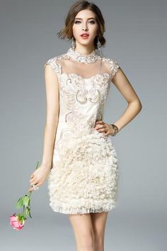 Elegant Stand Collar Women's Summer Dress With Rhinestones and Embroidery