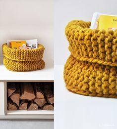 Gebreide mand, hip voor in huis. Hand Knitting, Knitting Patterns, Crochet Patterns, Crochet Home, Knit Or Crochet, Cotton Cord, Yarn Crafts, Diy Crafts, Knit Basket