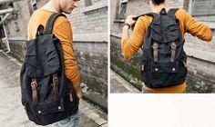 army rucksack Size: 30*15*48 cm Canvas Messenger Bag, Canvas Backpack, Sling Backpack, Leather Backpack, Army Rucksack, Backpacks, Bags, Men, Outfits