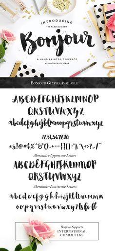 Bonjour! A lovely, brand-new brush script font.
