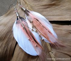 TRINITY Sterling Silver White Feather earrings by DesignerEmporio
