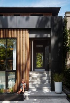 Externally, changes to the dwelling are visible where some existing windows have been relocated to suit the new interior configuration. The street-facing facade of the ground floor has also been updated with metal panels, wooden louvres and dark wood cladding that has been treated using the Japanese technique of shou sugi ban. House Cladding, Exterior Cladding, Facade House, Brook House, My House, Concrete Cladding, Concrete Tiles, Walker House, Japanese Style House