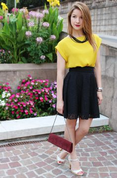 Mustard colored blouse in summer by Carmen Antal | Gorgeous evening outfit for a date night