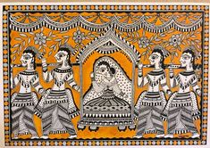"""Madhubani mithali, It's beautiful art of monochromatic folk art with mustard golden yellow as a backdrop. High resolution art print is available on gallery framed stretched canvass Size 24""""x16"""" Original painting is made with Acrylics and Indian ink on cold press paper. The original is available Madhubani Paintings Peacock, Kalamkari Painting, Madhubani Art, Indian Art Paintings, Original Paintings, Original Art, Easy Paintings, Abstract Paintings, Oil Paintings"""